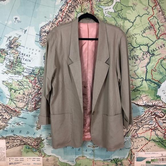 Vintage Jackets & Blazers - Vintage Oversized Linen Blend Blazer